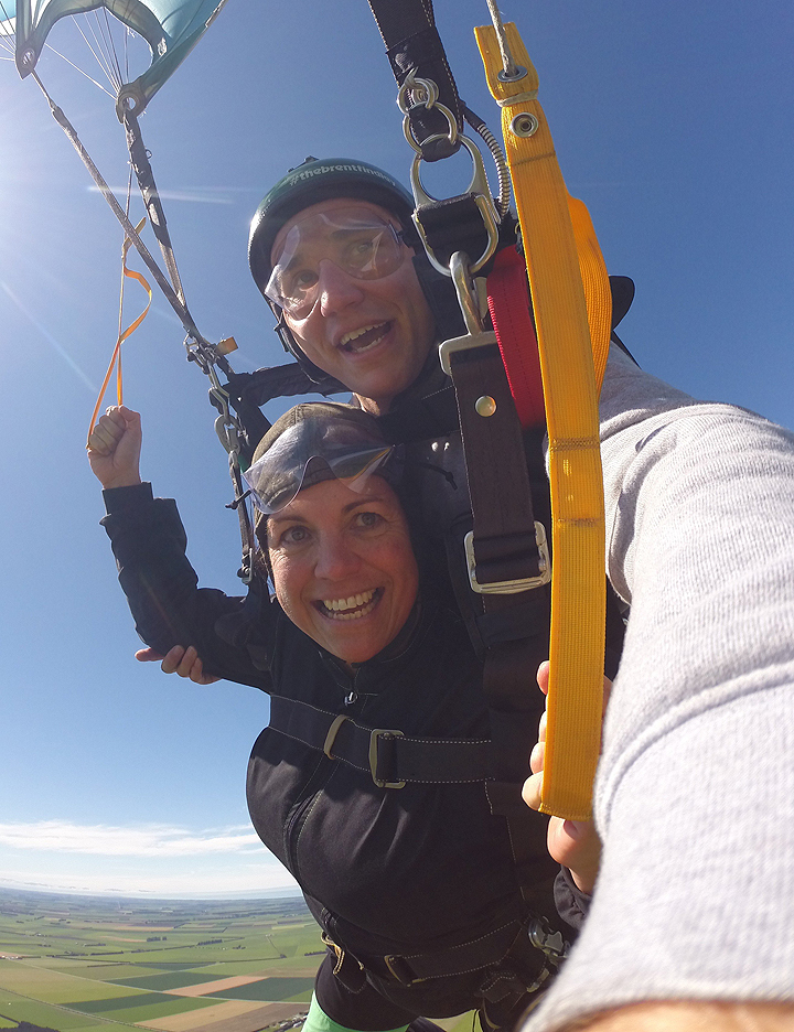 Keri Brown with her tandem instructor after jumping from 4000 metres.